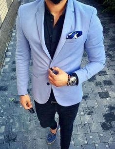 Light blue sport coat with pocket square,navy blue shirt and black jeans and blue loafers. #mensfashion #menswear #menstyle #bespoke #menwithstreetstyle #wedding #dapper #groomsmen #groom #style #gentlemen #streetstyle #streetwear #mensguides #giorgentiweddings #business #suits #theclassypeople