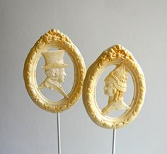 "ard Candy Lollipops ""Mr. Darcy"" and ""Ms. Lizzy"" Earl Grey Latte flavored -Wedding Cake Embellishment, Favor, Decoration"