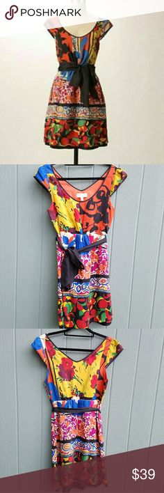 """Moulinette Souers Colorful Silk Dress Anthropologi Size 4. 100% silk,  elastic waistband on back.  Approximately 35"""" long, 19"""" across chest,  14.5"""" waistline on dress. Excellent condition.  Dry clean only. Anthropologie Dresses Mini"""