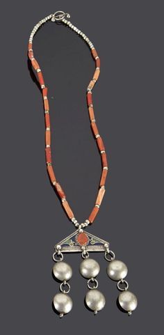 Algeria - Grand Kabylie | Necklace; silver, coral and enamel | Sold ~ May '15: