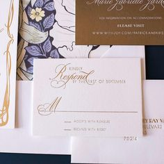 Matte gold foil stamping on pearl white cotton stock paired next to brushed gold folding board with white foil stamping! Perfect color combo for this wedding suite's enclosures! Foil Stamped Wedding Invitations, Foil Stamping, Matte Gold, Wedding Suits, Gold Foil, Pearl White, Color Combos, White Cotton, Pearls