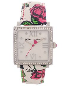 Betsey Johnson Watch, Women's Printed Rose Leather Strap 25mm BJ00041-04 - Roman Numerals - Jewelry & Watches - Macy's