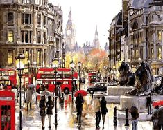 Art Oil Painting picture drawing coloring on canvas street No Frame