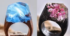 The jewelerSecret Wood (previously) has been producing even more miniature cities and landscapes, each ethereal universe living inside a resin geometric dome on top of their handmade wooden rings. In addition to buildings set against swirling skies, there are also works that contain tiny flowers, p
