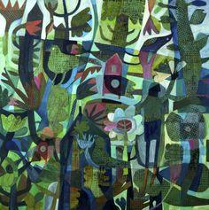 Este MacLeod 'Three birds' acrylic on linen. Art And Illustration, Illustrations, Elephant Design, Stencil Art, Naive Art, Whimsical Art, Collage Art, Painting & Drawing, Folk Art