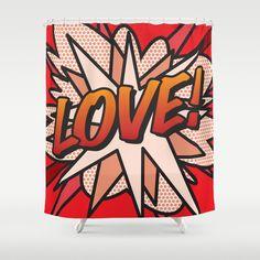Comic Book LOVE Shower Curtain