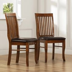 ernest mahogany slat back dining chairs set of 2