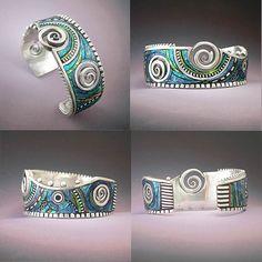 Silver and polymer cuff bracelet by LizardsJewelry, via Flickr