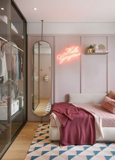 Décor do dia: quarto de adolescente com neon e tons pastel - Bedroom with glass closet and full size mirror The Effective Pictures We Offer You About decoration - Room Design Bedroom, Girl Bedroom Designs, Room Ideas Bedroom, Home Room Design, Small Room Bedroom, Home Bedroom, Bedroom Decor, Bedroom Lighting, Bedrooms