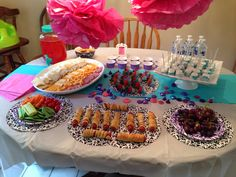 Ever After High, party food table. No theme here, just fun finger foods for a tea party. The chocolate dipped marshmallows and strawberries were a hit!