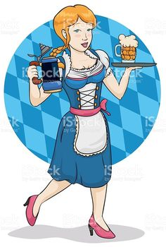 Traditional Waitress with Steins for Oktoberfest Celebration