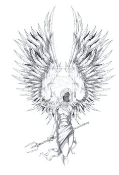 Raised Wings Angel Tattoo Sketch