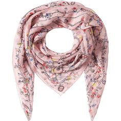 Alexander McQueen Printed Silk Scarf (€265) ❤ liked on Polyvore featuring accessories, scarves, multicolored, pink silk scarves, pure silk scarves, patterned scarves, colorful shawl and silk shawl