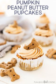 Pumpkin peanut butter pupcakes are homemade dog cupcakes made with pumpkin pureé, carrots, peanut butter and oat flour. They are gluten free and are safe for pups to eat. Make them for your dog's birthday! Cupcakes For Dogs Recipe, Dog Cake Recipes, Dog Cupcakes, Dog Biscuit Recipes, Dog Treat Recipes, Dog Food Recipes, Pupcake Recipe For Dogs, Homemade Dog Treats, Healthy Dog Treats