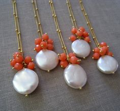Artículos similares a Pearl & Coral necklaces set of 5 Coin pearl necklace bridesmaid jewelry spring weddings white pink coral pink wedding party gifts en Etsy wedding Pink wedding Pearl Jewelry, Wedding Jewelry, Diy Jewelry, Beaded Jewelry, Jewelery, Jewelry Necklaces, Handmade Jewelry, Jewelry Design, Fashion Jewelry