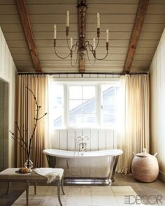 Farmhouse elegance bathroom inspiration except ours would have more color: red, brown, steel blue and metallics.