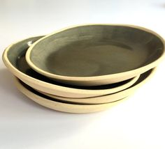 Green Ceramic Plate Ceramic Plate Dessert Plate  by bininaor