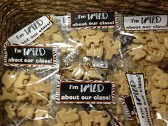 """I'm WILD About Our Class"" Treat Toppers - print and attach to bags of animal crackers for a first day of school treat! FREEBIE from www.thecurriculumcorner.com."