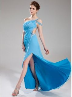 Special Occasion Dresses - $179.99 - A-Line/Princess One-Shoulder Sweep Train Chiffon Prom Dress With Ruffle Beading  http://www.dressfirst.com/A-Line-Princess-One-Shoulder-Sweep-Train-Chiffon-Prom-Dress-With-Ruffle-Beading-018018823-g18823