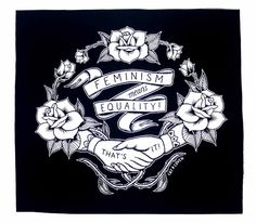 Feminism Back Patch Black by CatCoven on Etsy