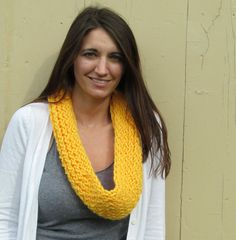 Golden Dandelion Yellow Knitted Loops and Threads Cowl Infinity Scarf by ArtTx on Etsy, $25.00