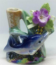 New Porcelain Pencil Holder Figurine Multi- Color Dolphin Purple Rose Decoration | eBay