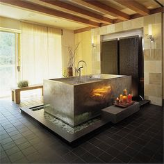 Two lucky bathersfit just fine in thisstainless steel tub —a work of art in its own right, fully deserving of the center stage position it holds in this chic modern bathroom.,Stainless Steel Japanese Bath by Diamond Spas Japanese Style Bathroom, Japanese Bathtub, Japanese Soaking Tubs, Japanese Spa, Japanese Design, Bathroom Design Luxury, Modern Bathroom, Bathroom Ideas, Bathroom Designs