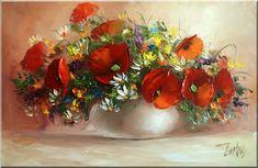 Malarstwo i Fotografia - Ewa Bartosik: Kwiaty Polne Flower Art, Art Flowers, Still Life, Floral Arrangements, Daisy, Paintings, Sunflowers, Artworks, Mini