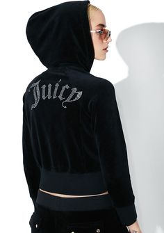 JUICY COUTURE Cropped Velour Gothic Logo Jacket ... don't approach me unless yr ready to come correct~ Serve 'em royal looks in this hooded jacket that features an ultra plush black velour construction, cropped cut, thick banded trim, rhinestone studded Juicy logo across the back, and zip front closure.
