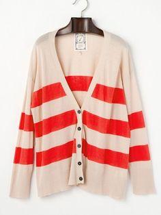 Lodge - Border drop-shoulder V-neck knit cardigan