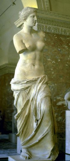 Aphrodite of Melos (Venus de Milo)  sculpted by Alexandros   marble   one anticipates what is to come, by the drapery falling off of her   Hellenistic period 323-30 BCE   Google Image Result for http://www.utexas.edu/courses/citylife/imagesr/aphrodite_melos1.jpg