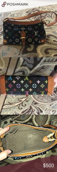 "Louis Vuitton Black Multicolor Eliza Date Code TH0066; Takashi Murakami; 10.6""x5.9""x3.9"";gently Used with a few pen marks Louis Vuitton Bags"