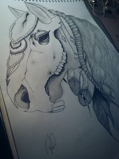 Horse#with#horseskull#mydrawing#diamonds#*-* <3