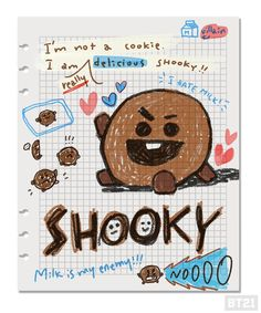 Shooky 🍪created by Suga❤방탄소년단 Bullet Journal Cover Ideas, Bullet Journal Inspiration, Book Journal, Bts Book, Bullet Journal Aesthetic, Line Friends, Bts Drawings, Bts Chibi, Bts Fans