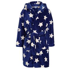 Buy John Lewis Boy Star Print Fleece Robe, Navy/White Online at johnlewis.com