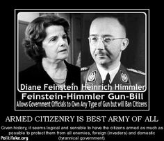 """Feinstein,Joe Biden and all law makers,would be  EXEMPT from the proposed gun ban. They get to have their RIGHTS and KEEP THEIR GUNS! Why? Are their lives of more value then ours? Are they better than we are? Obamacare was SHOVED down our throats but Nancy Pelosi won't be using it. When asked if she too would be subject to Obamacare Nancy Pelosi replied,"""" NO! I worked for my healthcare!"""" -There is something wrong when the people who make laws are not required to follow them!"""