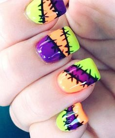 Neon Wounded Halloween Nail Art. Halloween Nail Art Ideas.