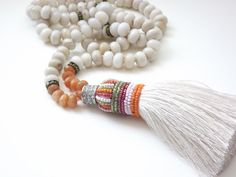 Ivory Agate Tassel Necklace - such beautiful colors - I might wear this everyday