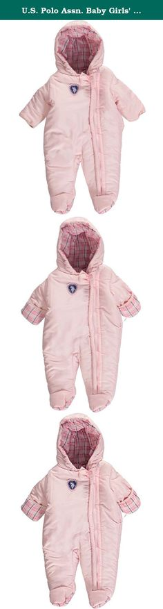 "U.S. Polo Assn. Baby Girls' ""Ice Cream Plaid"" 1-Piece Snowsuit - baby pink, 6 - 9 months. This U.S. Polo Assn. snowsuit comes with a weather-resistant exterior, fleece lining, and extra insulation for all-winter wear. Zipper down the front, foldover mitts, feeties. 100% Polyester Machine Wash Cold Imported."