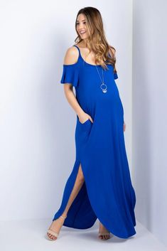 This trendy dress is one of the hottest styles this season. A cold shoulder maxi dress just in time to transition from spring into summer. With a solid and basic style, you can dress this piece up with strappy sandals and a long necklace for a chic look. Maternity Midi Dress, Pink Blush Maternity, Stylish Maternity, Dresses For Pregnant Women, Trendy Dresses, Cold Shoulder Dress, Outfits, Products, Fashion