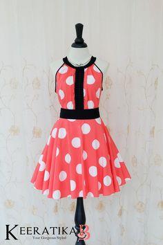 Luna Night Sweet Dress Pleated Dress Coral White Polka Dot Dress Prom Party Dress Wedding Bridesmaid Dress Coral Party Dress Sundress XS-XL