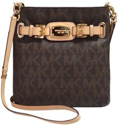 Women's Cross-Body Handbags - Michael Kors Hamilton MK Signature PVC Large Crossbody Brown -- To view further for this item, visit the image link.