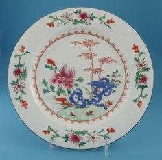 *FOR SALE* Click to read about the history and see more detailed images* CHINESE EXPORT FAMILLE ROSE PLATE (BOW INTEREST), Qianlong, c.1745-55
