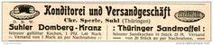 Original-Werbung/ Anzeige 1914 - SUHLER DOMBERG-KRANZ / THÜRINGER SANDWAFFEL / SPERLE - SUHL  - ca. 115 x 20 mm