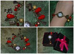 """Handmade bronze bracelet """"Red Christmas"""""""