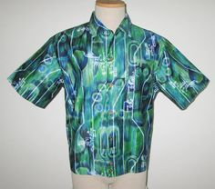 Vintage 1950s 1960s Hawaiian Shirt Jac/50s 60s Blue & Green Hawaiian Shirt/50s 60s Tiki Shirt By Hawaiian Surf Made In Hawaii - Size L by SayItWithVintage on Etsy