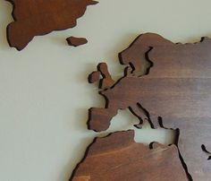 wooden world map XL floating on the wall by Paspartoet on Etsy Floating Tea Cup, Floating Candles, Rustic Wooden Shelves, Wood Shelves, Paper Template, Ikea Solid Wood, Floating Wall Unit, Catcher, Paper Christmas Ornaments