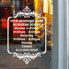 Custom Business Open Hour Sign With Logo Ver Oracal  Vinyl - Window decals for business hours