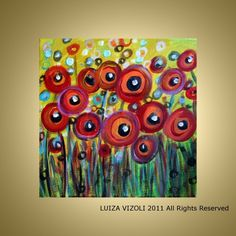 RED POPPIES Fantasy Floral Whimsical Painting
