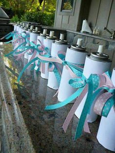 Love this idea! Use Colored Silly String to reveal the gender of the baby!